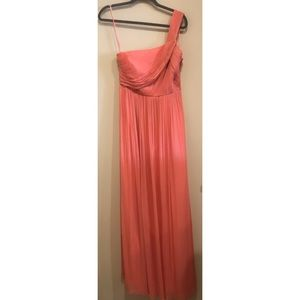 J. Crew | Coral Kylie One Shoulder Chiffon Gown, 4